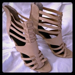 Strappy Tan Heeled Sandals